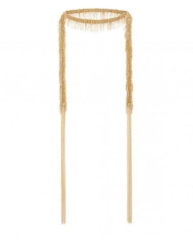 Collar largo flecos oro