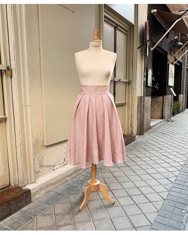 Falda fluida lino rosa