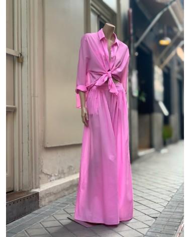 Falda pantalón voile rosa