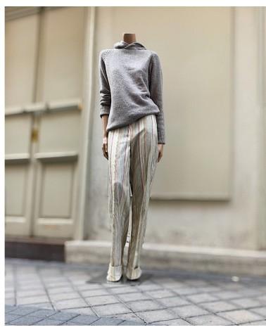Pantalón ancho stripes seda