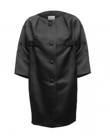Abrigo raso seda negro