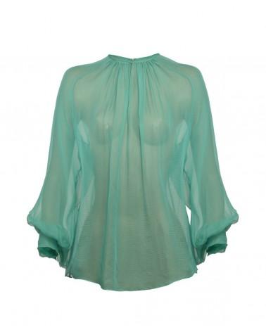 Blusa escote frunce esmeralda