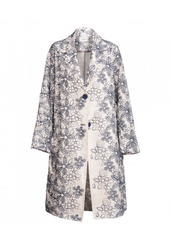 Embroidered Linen Coat