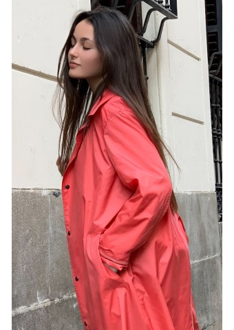 salmon trench coat