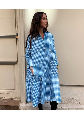 oversize vichy blue dress