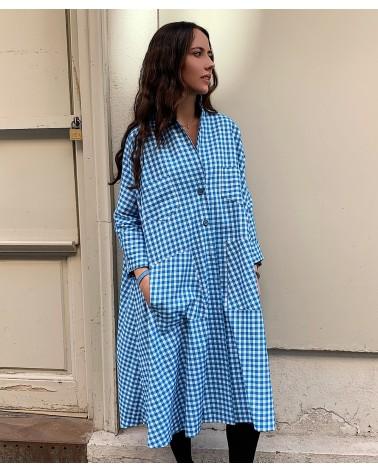 vestido oversize vichy blue