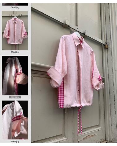 Cubrecamisa lino rosa