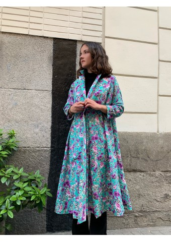 oversize printed turquoise dress