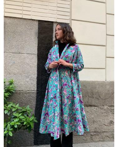 vestido oversize flor turquesa